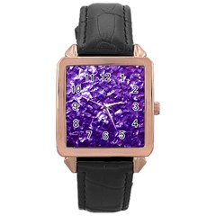 Natural Shimmering Purple Amethyst Mother Of Pearl Nacre Rose Gold Leather Watch  by PodArtist