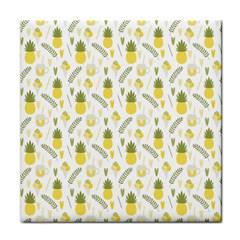 Pineapple Fruit And Juice Patterns Tile Coasters by TastefulDesigns