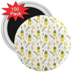 Pineapple Fruit And Juice Patterns 3  Magnets (100 Pack) by TastefulDesigns