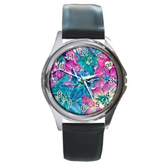 Wonderful Floral 22b Round Metal Watch by MoreColorsinLife