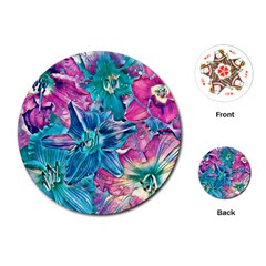 Wonderful Floral 22b Playing Cards (round)  by MoreColorsinLife
