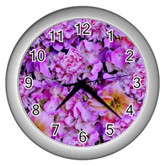 Wonderful Floral 24 Wall Clocks (silver)  by MoreColorsinLife