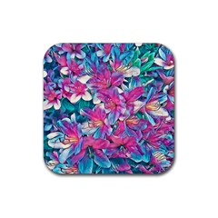Wonderful Floral 25a Rubber Coaster (square)  by MoreColorsinLife