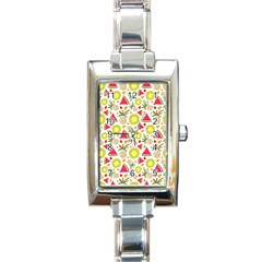 Summer Fruits Pattern Rectangle Italian Charm Watch by TastefulDesigns