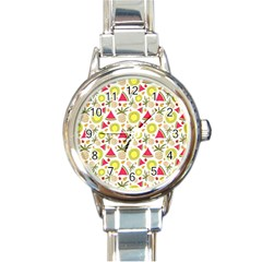 Summer Fruits Pattern Round Italian Charm Watch by TastefulDesigns