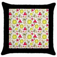 Summer Fruits Pattern Throw Pillow Case (black) by TastefulDesigns