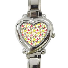 Summer Fruits Pattern Heart Italian Charm Watch by TastefulDesigns