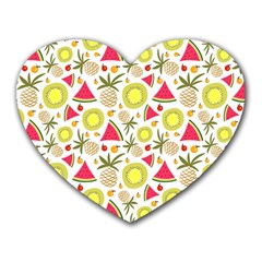 Summer Fruits Pattern Heart Mousepads by TastefulDesigns