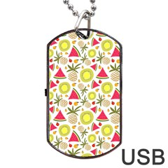 Summer Fruits Pattern Dog Tag Usb Flash (two Sides) by TastefulDesigns