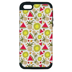 Summer Fruits Pattern Apple Iphone 5 Hardshell Case (pc+silicone) by TastefulDesigns
