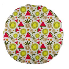 Summer Fruits Pattern Large 18  Premium Round Cushions by TastefulDesigns