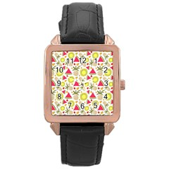 Summer Fruits Pattern Rose Gold Leather Watch  by TastefulDesigns