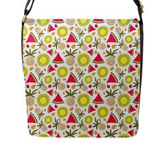 Summer Fruits Pattern Flap Messenger Bag (l)  by TastefulDesigns