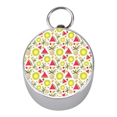 Summer Fruits Pattern Mini Silver Compasses by TastefulDesigns