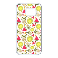 Summer Fruits Pattern Samsung Galaxy S7 White Seamless Case by TastefulDesigns