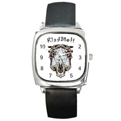 Funny Creepy Alien Headbones Small Square Metal Watch by dflcprints