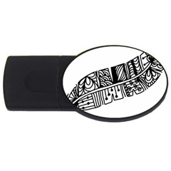Feather Zentangle Usb Flash Drive Oval (4 Gb) by CraftyLittleNodes