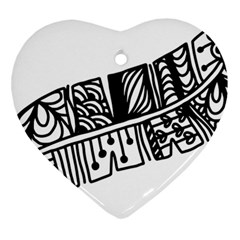 Feather Zentangle Heart Ornament (two Sides) by CraftyLittleNodes
