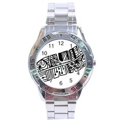 Feather Zentangle Stainless Steel Analogue Watch by CraftyLittleNodes