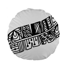 Feather Zentangle Standard 15  Premium Flano Round Cushions by CraftyLittleNodes