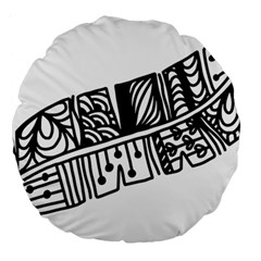 Feather Zentangle Large 18  Premium Flano Round Cushions by CraftyLittleNodes