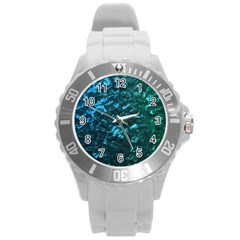 Ocean Blue and Aqua Mother of Pearl Nacre Pattern Round Plastic Sport Watch (L) by PodArtist