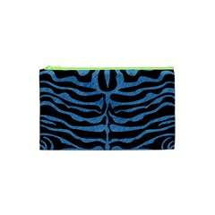 Skin2 Black Marble & Blue Colored Pencil Cosmetic Bag (xs) by trendistuff