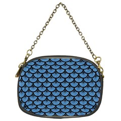 Scales3 Black Marble & Blue Colored Pencil (r) Chain Purse (one Side) by trendistuff
