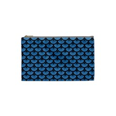 Scales3 Black Marble & Blue Colored Pencil (r) Cosmetic Bag (small) by trendistuff