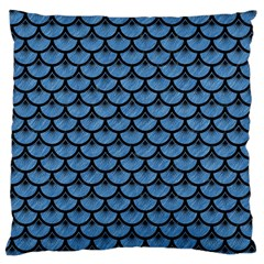 Scales3 Black Marble & Blue Colored Pencil (r) Large Cushion Case (one Side) by trendistuff