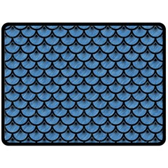 Scales3 Black Marble & Blue Colored Pencil (r) Double Sided Fleece Blanket (large) by trendistuff