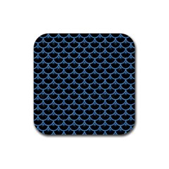 Scales3 Black Marble & Blue Colored Pencil Rubber Square Coaster (4 Pack) by trendistuff