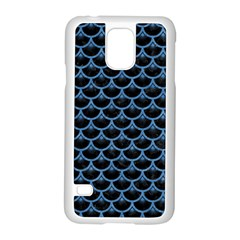 Scales3 Black Marble & Blue Colored Pencil Samsung Galaxy S5 Case (white)