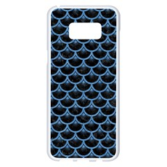 Scales3 Black Marble & Blue Colored Pencil Samsung Galaxy S8 Plus White Seamless Case by trendistuff