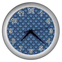 Scales2 Black Marble & Blue Colored Pencil (r) Wall Clock (silver) by trendistuff