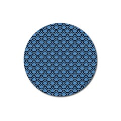 Scales2 Black Marble & Blue Colored Pencil (r) Magnet 3  (round) by trendistuff