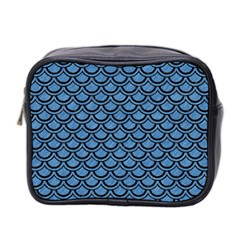 Scales2 Black Marble & Blue Colored Pencil (r) Mini Toiletries Bag (two Sides) by trendistuff