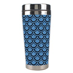 Scales2 Black Marble & Blue Colored Pencil (r) Stainless Steel Travel Tumbler by trendistuff