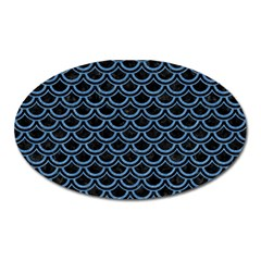 Scales2 Black Marble & Blue Colored Pencil Magnet (oval) by trendistuff