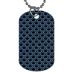 Scales2 Black Marble & Blue Colored Pencil Dog Tag (one Side) by trendistuff