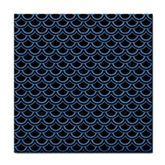 Scales2 Black Marble & Blue Colored Pencil Face Towel by trendistuff