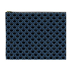 Scales2 Black Marble & Blue Colored Pencil Cosmetic Bag (xl) by trendistuff