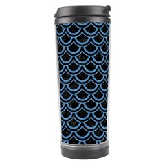 Scales2 Black Marble & Blue Colored Pencil Travel Tumbler by trendistuff