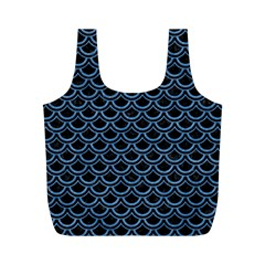 Scales2 Black Marble & Blue Colored Pencil Full Print Recycle Bag (m) by trendistuff