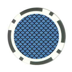 Scales1 Black Marble & Blue Colored Pencil (r) Poker Chip Card Guard by trendistuff