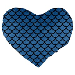 Scales1 Black Marble & Blue Colored Pencil (r) Large 19  Premium Flano Heart Shape Cushion by trendistuff