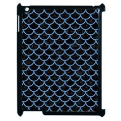 Scales1 Black Marble & Blue Colored Pencil Apple Ipad 2 Case (black) by trendistuff
