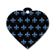 Royal1 Black Marble & Blue Colored Pencil (r) Dog Tag Heart (two Sides) by trendistuff