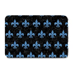 Royal1 Black Marble & Blue Colored Pencil (r) Plate Mat by trendistuff