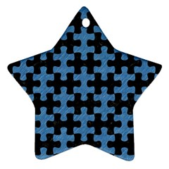 Puzzle1 Black Marble & Blue Colored Pencil Star Ornament (two Sides) by trendistuff